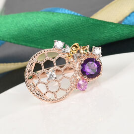 GP Itallian Garden Leaf and Flower - Amethyst, Pink Sapphire and Multi Gemstone Ring in Rose Gold Overlay Sterling Silver