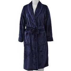 Microfibre Soft Flannel Shawl Collar Dressing Gown with Pocket (Size 65x115 Cm) - Navy Blue