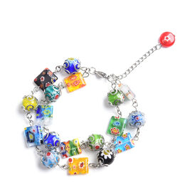 Multi Colour Murano Glass Adjustable Bracelet in Stainless Steel 7.5 with 2 inch Extender