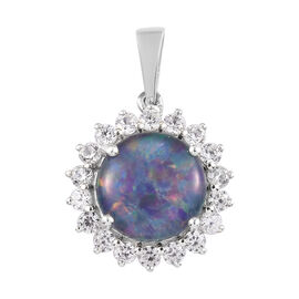 Australian Boulder Opal and Natural Cambodian Zircon Halo Pendant in Platinum Overlay Sterling Silve
