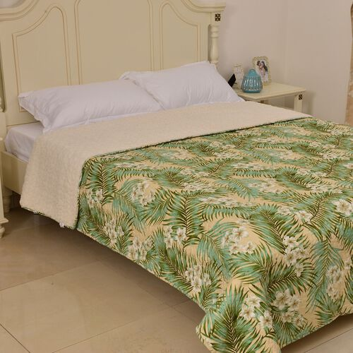 Supersoft Floral Design Printed King Size Sherpa Quilt (Size 260X230 Cm)