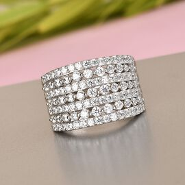 J Francis - Platinum Overlay Sterling Silver Cluster Ring Made with SWAROVSKI ZIRCONIA 3.180 Ct, Silver Wt 6.40 Gms