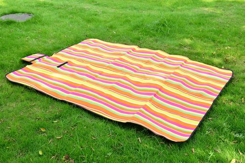 EXTRA LARGE Yellow, Orange and Multi Colour Stripes Pattern Picnic Blanket (Size 195X140 Cm)