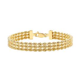 9K Yellow Gold Three Row Rope Bracelet (Size 7), Gold wt 5.50 Gms.