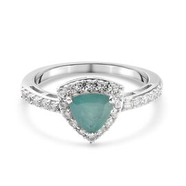 Grandidierite and Natural Cambodian Zircon Ring in Platinum Overlay Sterling Silver 1.25 Ct.