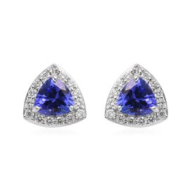ILIANA 18K White Gold AAA Tanzanite and Diamond Halo Stud Earrings (with Screw Back) 1.10 Ct.