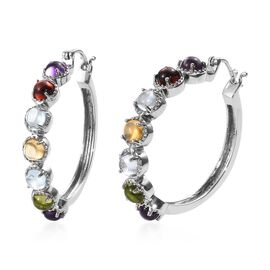 Mozambique Garnet (Rnd), Sky Blue Topaz, Amethyst, Hebei Peridot and Citrine Hoop Earrings (with Cla