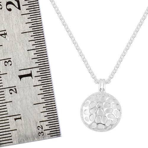 RACHEL GALLEY Sterling Silver Memento Disc Pendant With Chain (Size 20), Silver wt 8.27 Gms.