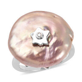Freshwater Multi Colour Pearl and Diamond Ring in Rhodium Overlay Sterling Silver