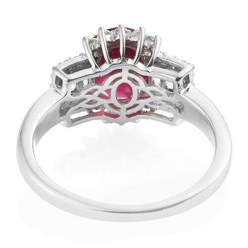 African Ruby (Ovl 3.80 Ct), White Topaz Ring in Platinum Overlay Sterling Silver 4.500 Ct.