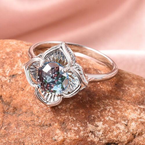 Galatea DavinChi Cut Collection - Blue Topaz, Russian Diopside and Mozambique Garnet Ring in Rhodium Overlay Sterling Silver 2.12 Ct.