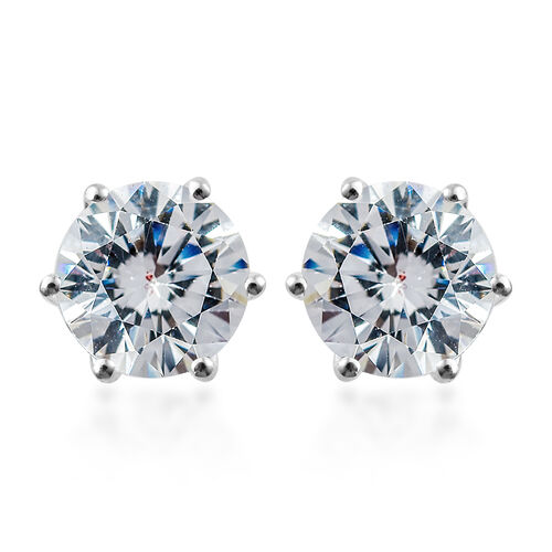 J Francis Sterling Silver (Rnd) Stud Earrings (with Push Back) Made with SWAROVSKI ZIRCONIA