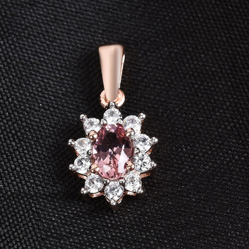 AA Pink Tourmaline and Natural Cambodian Zircon Halo Pendant in Rose Gold Overlay Sterling Silver 0.80 Ct.