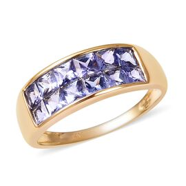 2 Carat Tanzanite Two Rows Half Eternity Band Ring in 14K Gold 3.28 Grams