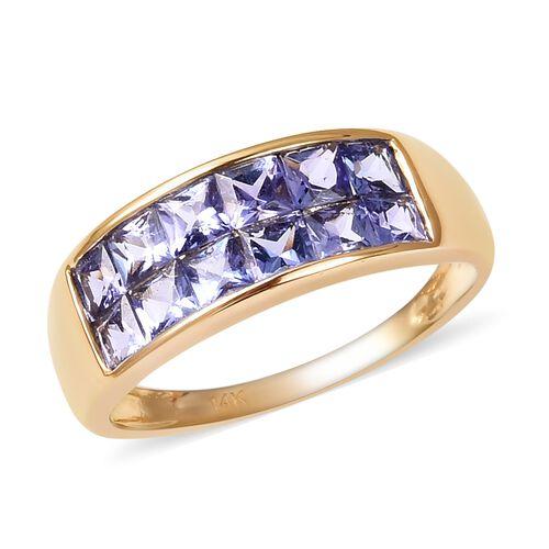 2 Carat Tanzanite Two Rows Half Eternity Band Ring in 14K Gold 3.28 Grams