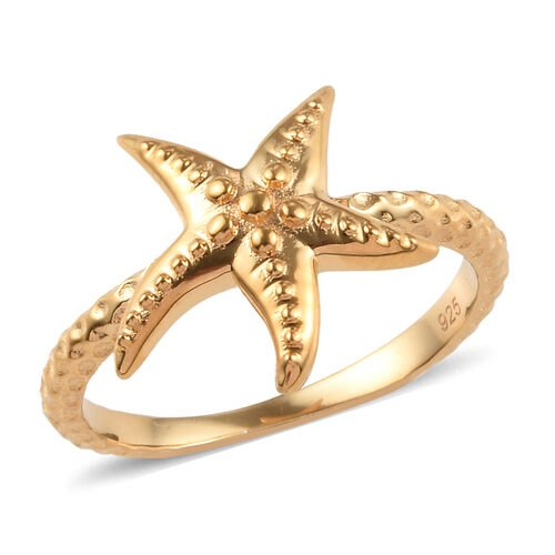 14K Gold Overlay Sterling Silver Starfish Ring