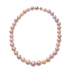 ILIANA 18K Yellow Gold Multi Colour Edison Pearl (Rnd 10-15 mm) Necklace (Size 20) with Magnetic Loc