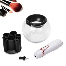 Makeup Brush Cleaner Set Includes 1 Electric Brush Spinner, 1 Bowl, 1 Attachment Spindle and 8 Brush