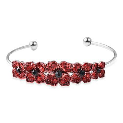 TJC Poppy Design - Black and Red Austrian Crystal Enamelled Poppy Cuff Bangle (Size 6.5) in Silver T