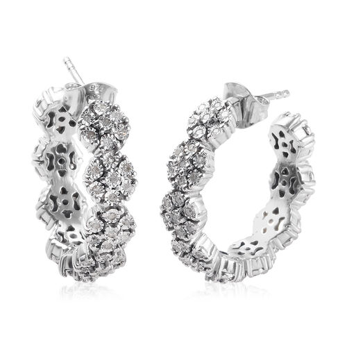 GP 0.53 Ct Diamond and Blue Sapphire Hoop Earrings in Platinum Plated Silver