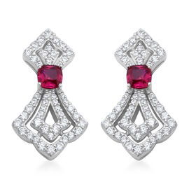 ELANZA Simulated Diamond and Simulated Ruby Drop Earrings in Rhodium Plated Silver