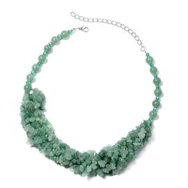 Green Aventurine and Simulated Emerald Chips Necklace (Size 20 with 6 inch Extender) 670.001 Ct.