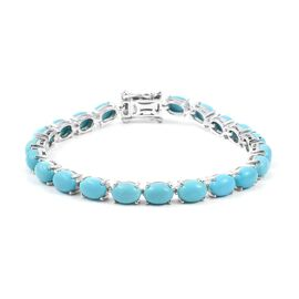 13.75 Ct Arizona Sleeping Beauty Turquoise Tennis Bracelet in Rhodium Plated Silver 6.5 Inch