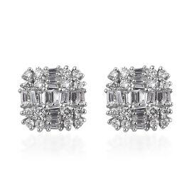 RHAPSODY 950 Platinum IGI Certified Diamond (Rnd and Bgt) (VS/E-F) Stud Earrings (with Screw Back) 0