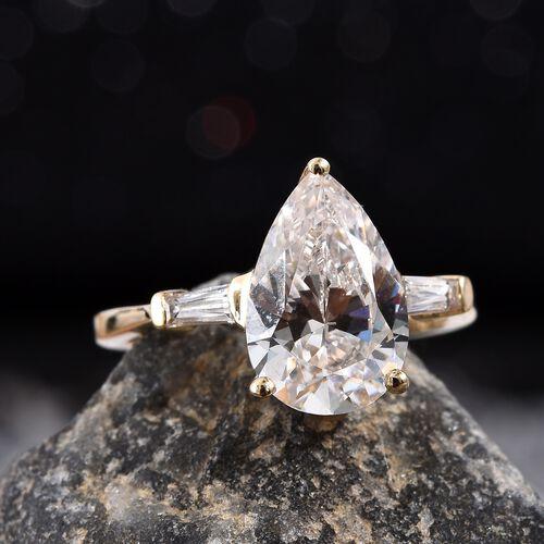 J Francis 9K Yellow Gold (Pear 12x8 mm) Ring Made with SWAROVSKI ZIRCONIA