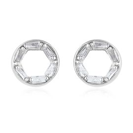 Diamond (Bgt) Earrings (with Push Back) in Platinum Gold Overlay Sterling Silver 0.135 Ct.