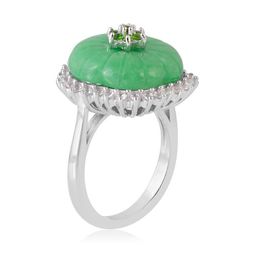 Carved Green Jade, Natural Cambodian White Zircon and Russian Diopside Flower Ring in Rhodium Overlay Sterling Silver 10.810 Ct.
