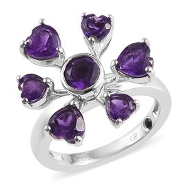 GP 2.76 Ct AA Amethyst and and Blue Sapphire Heart Floral Ring in Platinum Plated Sterling Silver