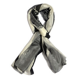 100% Mulberry Silk Cream, Black and Grey Colour Printed Scarf (Size 180x100 Cm)