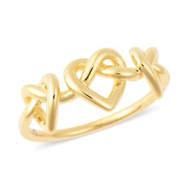LucyQ Entwined Heart Ring in Yellow Gold Overlay Sterling Silver
