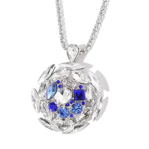 Pink, Blue, Red and White Austrian Crystal and Simulated Multi Gemstone Pendant With Chain (Size 32 with 3 inch Extender) with 3 Interchangeable Charms in Silver Tone