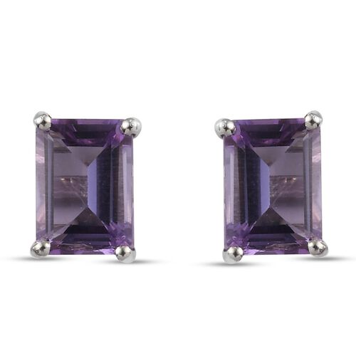 Pink Amethyst Earrings (with Push Back) in Platinum Overlay Sterling Silver 1.97 Ct.