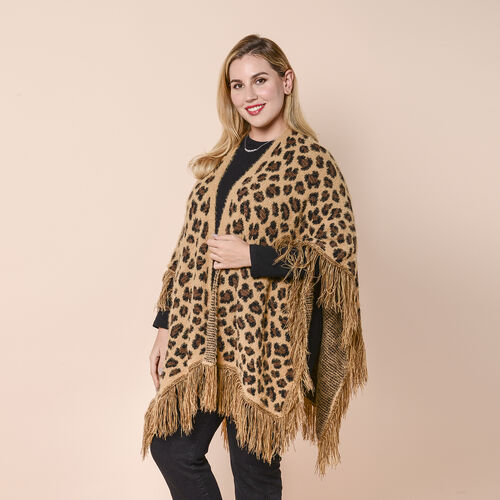 LA MAREY Leopard Print Kimono with Full Tassel in Brown