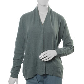 80% Lamb Wool and 20% Nylon Mallard Green Waterfall Cardigan
