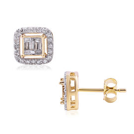 9K Yellow Gold SGL Certified Diamond (Rnd and Bgt) (I3/G-H) Stud Earrings (with Push Back) 0.50 Ct.