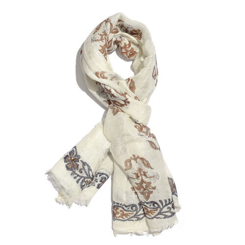 White and Brown Colour Handblock Printed Scarf (Size 180x75 Cm)
