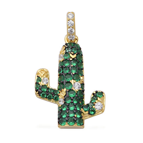 ELANZA AAA Simulated Diamond and Simulated Emerald Cactus Pendant in Black Plating, Yellow Gold and