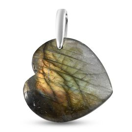 Labradorite Heart Pendant in Platinum Overlay Sterling Silver 49.00 Ct.