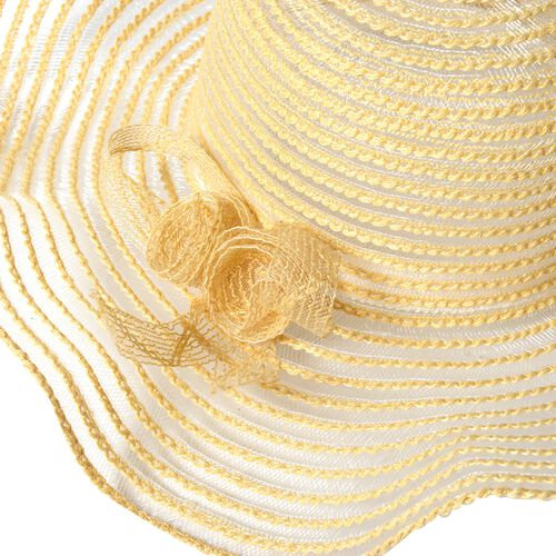 White Solid Colour Scarf (Size 180x70 Cm) with Translucent Strip Pattern Hat including Bowknot String (Size 39.37x10.16 cm)