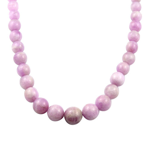 Kunzite Beaded Necklace in Rhodium Plated Sterling Silver 20 Inch