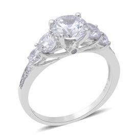 ELANZA Swiss Star Cubic Zirconia (Rnd) Ring in Rhodium Overlay Sterling Silver