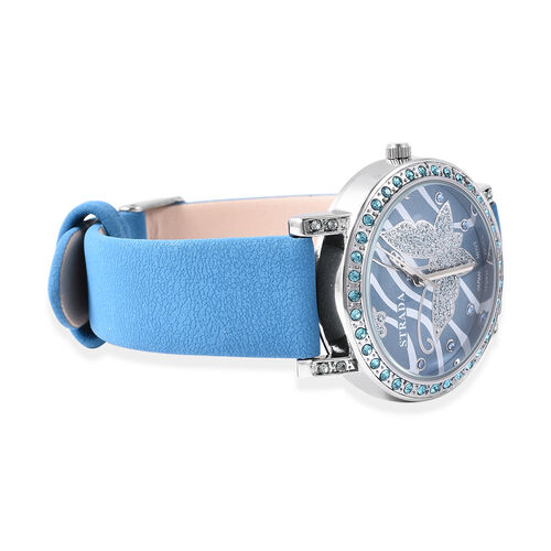 STRADA Japanese Movement Simulated London Blue Topaz Studded Butterfly Motif Dial Water Resistant Watch in Stainless Steel with Blue Colour Strap