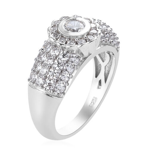 J Francis Platinum Overlay Sterling Silver Ring made with SWAROVSKI ZIRCONIA 5.40 Ct.