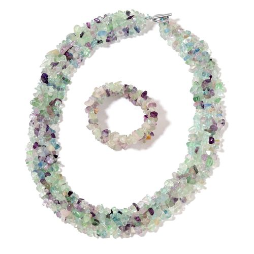 Limited Offer- Fluorite Necklace (Size 18 with 2 inch Extender) in Silver Tone and Stretchable Bracelet (Size 7.5) 890.00 Ct.