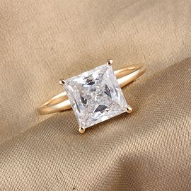 J Francis 9K Yellow Gold Solitaire Ring Made with SWAROVSKI ZIRCONIA 4.75 Ct.