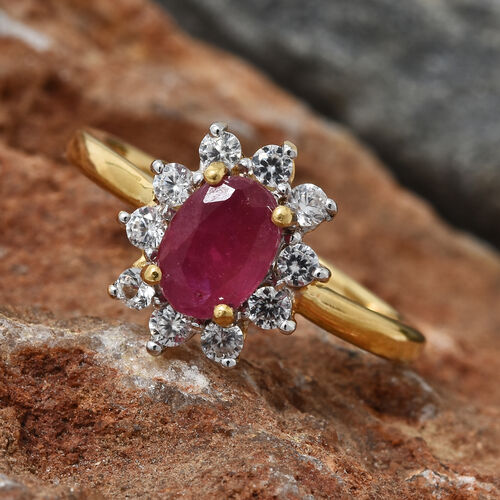 Designer Inspired- African Ruby (Ovl 1.25 Ct), Natural Cambodian White Zircon Floral Ring in 14K Gold Overlay Sterling Silver 1.750 Ct.